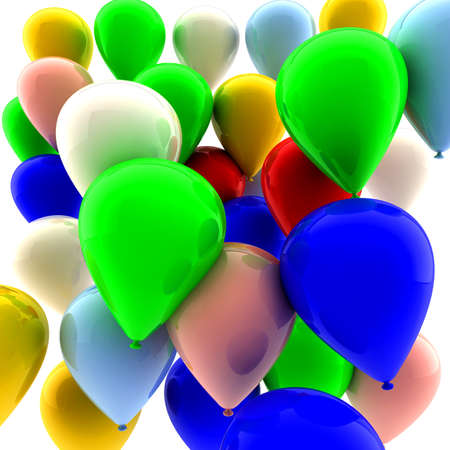 Many colored balloons fly in the air Stock Photo - 8509145