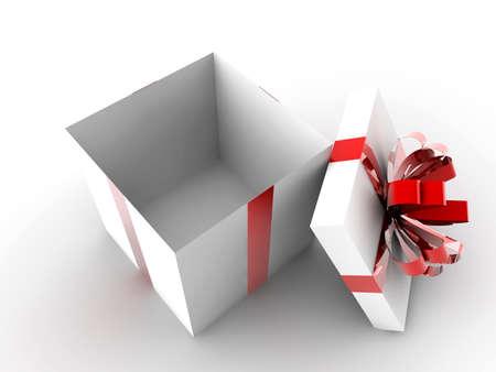 赤いリボンと内部に何も開いている白いギフト 写真素材