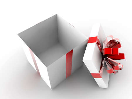 Open white gift with red ribbon and nothing inside photo