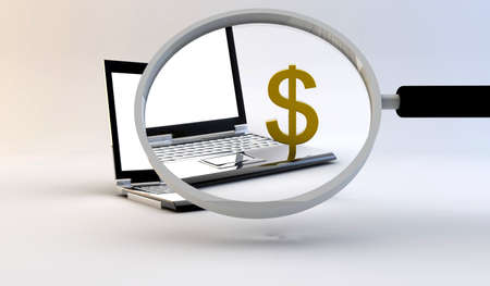 Magnifying glass on a dollar symbol on laptop Stock Photo - 8509066
