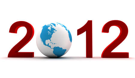 A 2012 red text with earth inside Stock Photo - 8646238
