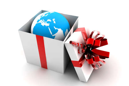 happy world: Open white and red gift with earth inside Stock Photo