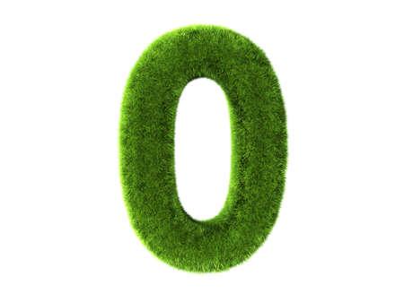 zero: A grass zero isolated on a white background