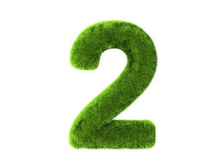 number two: A grass two isolated on a white background Stock Photo