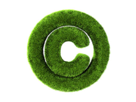 copyright: A grass copyright isolated on a white background Stock Photo