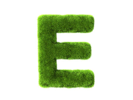 e white: A grass e isolated on a white background