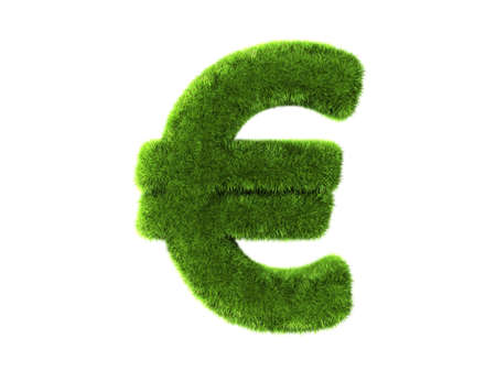 green economy: A grass euro isolated on a white background