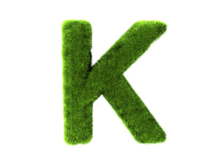 letter k: A grass k isolated on a white background Stock Photo