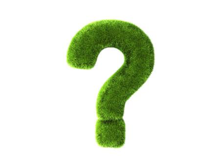 Un punto interrogativo erba isolato su uno sfondo bianco