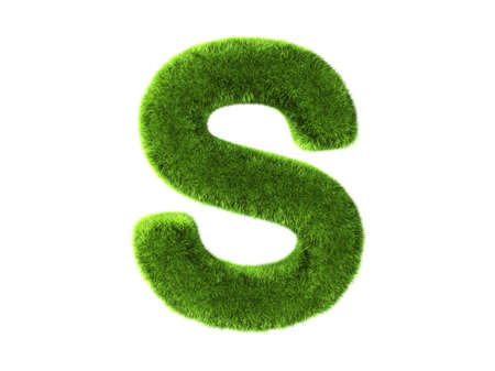 s alphabet: A grass s isolated on a white background Stock Photo