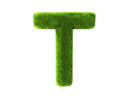 capital letters: A grass t isolated on a white background