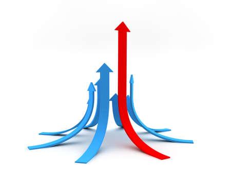 upwards: Illustration of arrows directed upwards as success