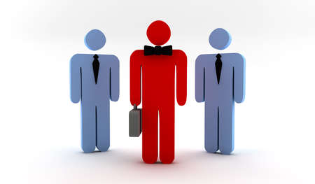 collaborators: A red businessman with two blue collaborators Stock Photo