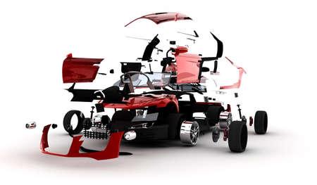 Een rode sport auto ontplofte in vele delen