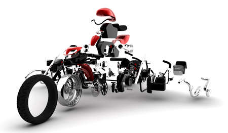 crumple: A red motorbike exploded in many parts Stock Photo