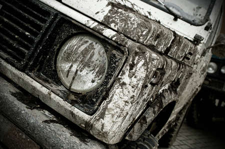 muddy: Off road car participating in off-road challenge