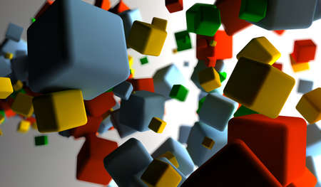 Abstract background with many colored cubes  Stock Photo - 9356929