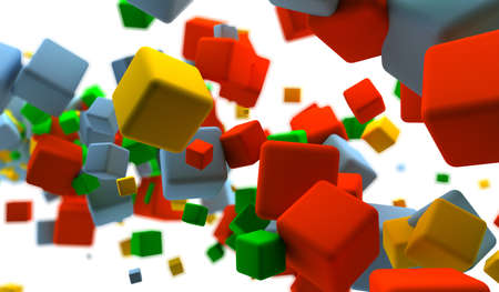 Abstract background with many colored cubes Stock Photo - 9356925