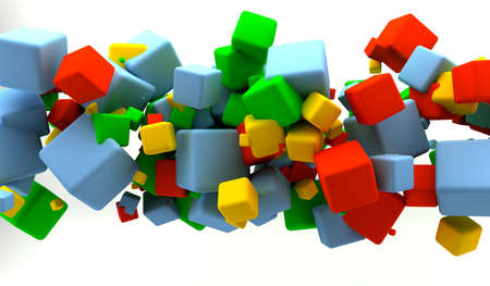 Abstract background with many colored cubes  Stock Photo - 9356926