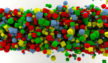 Abstract background with many colored cubes and spheres Stock Photo - 9356934