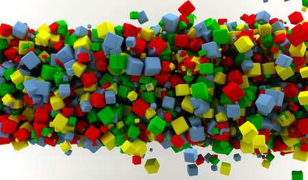 多くの色のキューブと抽象的な背景 写真素材 - 9356937