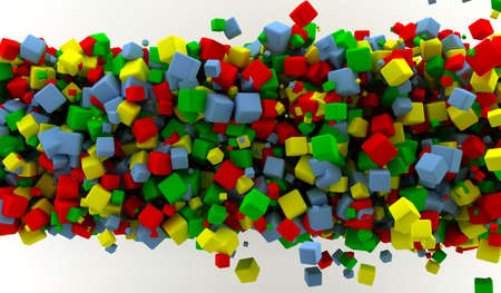 Abstract background with many colored cubes  photo