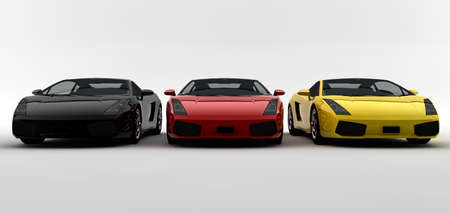 Three modern colored cars in front side photo