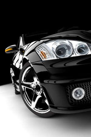 silueta coche: Un coche negro moderno y elegante iluminado Foto de archivo