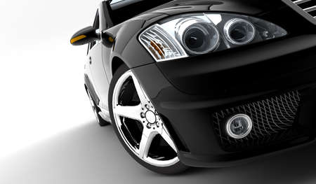 A modern and elegant black car illuminated Stock Photo