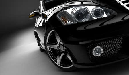 照らされたモダンでエレガントな黒の車 写真素材 - 9471673
