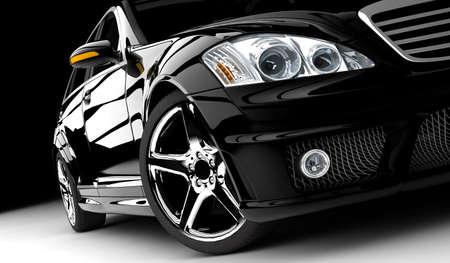 llantas: Un coche negro moderno y elegante iluminado Foto de archivo