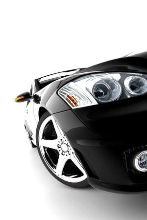 A modern and elegant black car illuminated photo