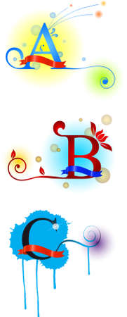 Colored letters a b c Vector