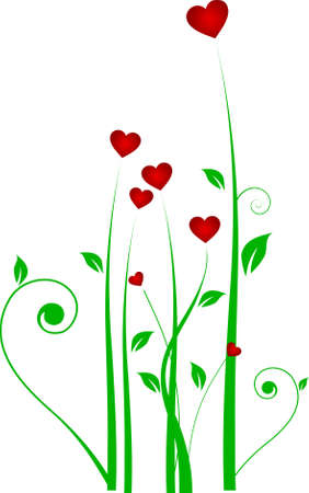 Grass with hearts Stock Vector - 9717119