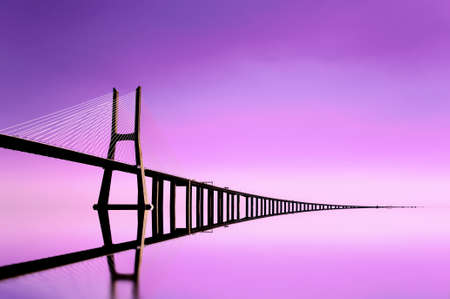 Vasco De Gama bridge in Lisbon city Banco de Imagens