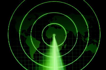 sonar: Un radar vert avec une carte du monde Banque d'images