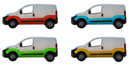 express delivery: Four white vans isolated on a background