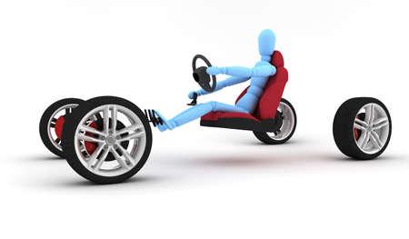 aluminum wheels: Cuatro ruedas aislado en un fondo blanco con un hombre azul