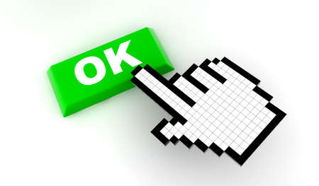 A white hand cursor push a green button Stock Photo - 10374070