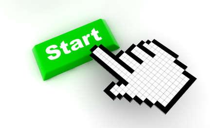 A white hand cursor push a green button photo