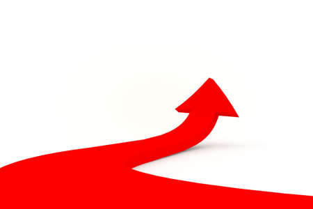 Illustration of a red arrow directed upwards as success  illustration