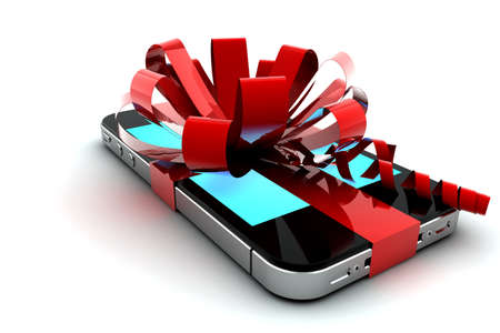 Mobile phone with red bow like a gift photo