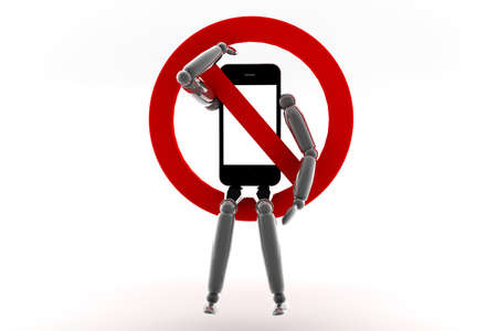 cell phones not allowed: Mobile phone with blank screen for copy space and a red prohibition sign