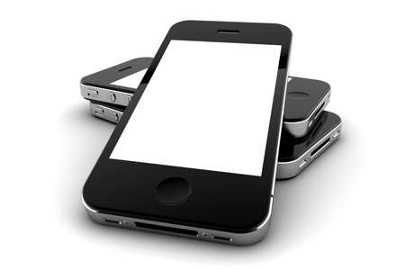 mobile sms: Mobile phone with blank screen for copy space Stock Photo