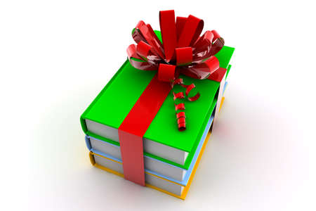 three colored: Three colored books with a ribbon like a present