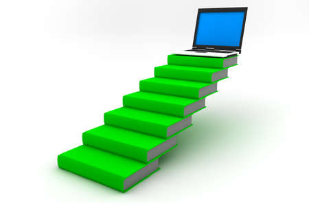 Computer on top of a stair made of green books Stock Photo - 10549640
