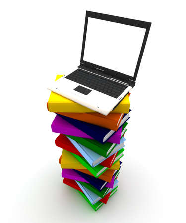 Computer on top of a pile of colored books Stock Photo - 10549644