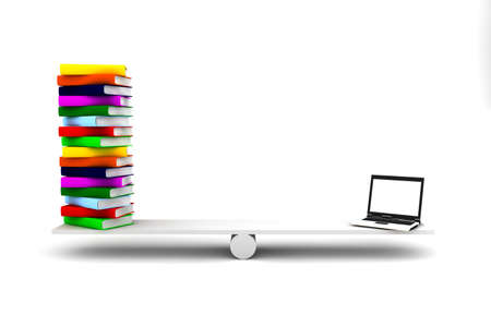 Computer and many colored books over a balance Stock Photo - 10549637