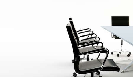 Black chairs around a light office table photo