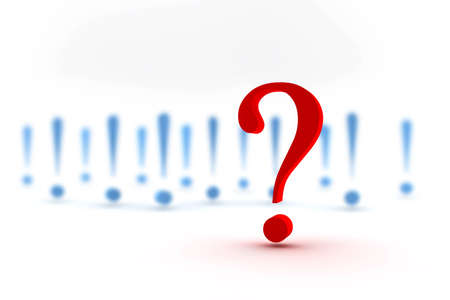 interrogation point: Red question mark in front of many blue exclamation marks